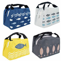 Portable Lunch Bag Travel Picnic Tote Fish Pattern Thermal Insulation Bag