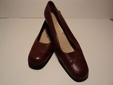 Salvatore Ferragamo Brown Pebbled Leather Rounded Toe Loafers, Size 8AA, GREAT