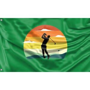 Golf Into The Sunset Flag, Unique Design, 3x5 Ft / 90x150 cm size, Made in EU