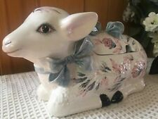 Vintage Hand Painted Porcelain Italy Lamb Sheep Soup Tureen Gravy Boat