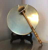 """Antique Hand Made Brass Dinner Gong 9"""" DIAMETER + 11"""" BEATER"""