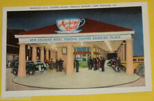 Morning Call Coffee Stand - New Orleans French Market 1930s postcard! Old Cars!