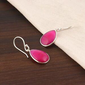 Pink Botswana Agate Slice Pear Shape Silver Plated Drop Dangle Handmade Earrings