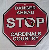 "NFL Arizona Cardinals Team Stop Sign 12""x12"" Styrene Plastic by Fremont Die"