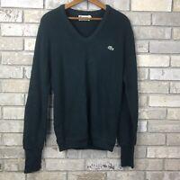 VTG 80s Mens Large IZOD LACOSTE Green pullover v neck sweater crocodile Vintage