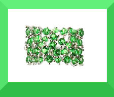 New Green Tourmaline CZ 925 Silver Cocktail Ring Size 6.75 FREE SHIPPING #119