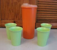 Tupperware Pitcher 262 ORANGE & 4 Tumbler Sippy Cups # 109 Green Glasses