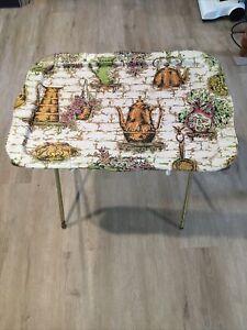 VINTAGE Metal TV Snack Tray Folding Table Mid Century MCM Floral Tea Pots