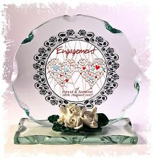Personalised Engagement Hearts Design Round Glass Plaque Frame Ltd Edition  #4