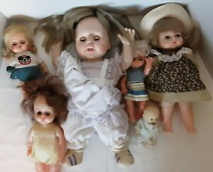 Vintage Vinyl & Plastic Doll Bundle (6)*Spooky Eyes*Halloween Crafts*