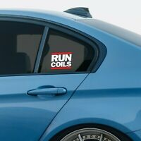 """Run Coils"" lowered car vinyl window sticker (static stance suspension coilover)"