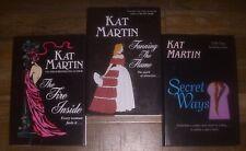 3 Kat Martin Hardcover Large Print Lot FIRE INSIDE~FANNING THE FLAME~SECRET WAYS