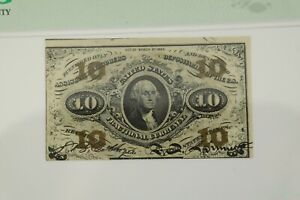 10 Cent Third Issue Fractional Currency Fr#1256 green back, PMG MS 62 EPQ