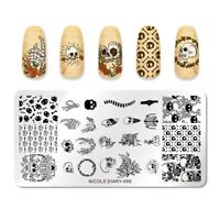 NICOLE DIARY Rectangle Nail Stamping Plate Skull Pattern Nail Art Templates Tool
