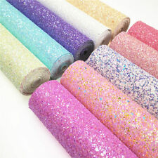 New Elegant Pastel Extra Chunky Glitter Fabric Sheets Faux Leather Bows Roll Lot
