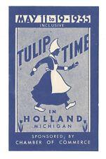 US poster stamp cinderella Tulip Time Holland Michigan dutch flowers 1935