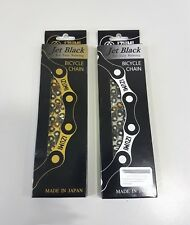 IZUMI 1/2x1/8 116L Cycling Bicycle Chain For Easy Running Jet Black Silver/Gold