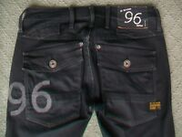 G STAR 'ELWOOD HERITAGE EMBRO TAPERED WMN' STRETCH JEANS WMN SIZE 6