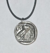 Owl of Greek Goddess Athena AOE Pendant Waxed Cotton Cord Handmade Necklace