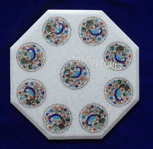 15 Inch Marble Coffee Table Top Inlay Peacock Pattern Sofa Side Table Home Decor