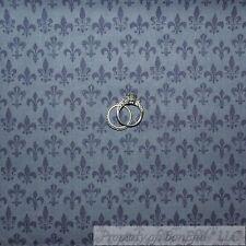 BonEful Fabric FQ Cotton Quilt Purple Gray Fleur De Lis French Country Boy Scout