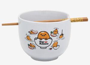 Nissin Top Ramen X Gudetama Ceramic Ramen Bowl With Wooden Chopsticks