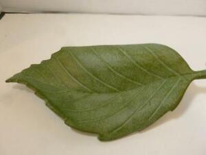 Heavy Cast Iron/Aluminum Green Patina Leaf Shaped Bird Butterfly Bee Water Dish