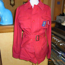 VESTE SAHARIENNE COTON  VINTAGE H/F 80 TAILLE 38 - RED SAHARAN JACKET VINTAGE 80