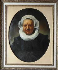 """Après Rembrandt Van Rijn """"Portrait de aechje CLAESDR"""" huile sur toile doublée"""