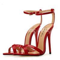 Women's Roman Sandals Open Toe Ankle Strap Hollow High Heel Stilettos Shoes New