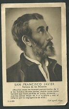 Estampa antigua de San Francisco Javier andachtsbild santino holy card santini