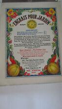 Affiche ancienne decoration cuisine  ,agricole engrais jardin monnot originale
