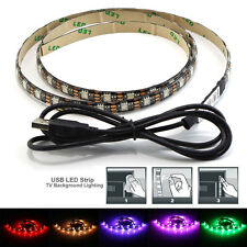 4x USB RGB LED Lighting Background Strip Rope Light for TV HDTV W/remote Control