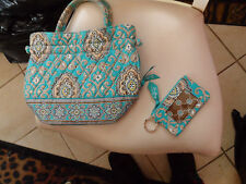 Vera Bradley retired Totally Turque zip ID & handbag with ties on each side
