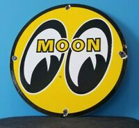 VINTAGE MOON EYES AUTOMOBILE PORCELAIN GAS SERVICE PUMP PLATE AD METAL SIGN