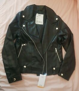 M&S Girls Faux Black Leather Jacket 12-13 Years BNWT