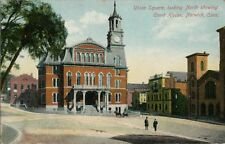 Old Postcard - Union Square Looking North Showing Court House - Norwich CT