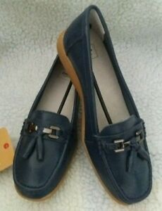 Cotton Traders Woman's Navy Blue Flexi-Sole Buckle Loafers - Size 6 uk - 39 eu
