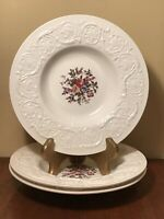 "Wedgwood Patrician Swansea Rimmed Soup Bowl(s) 8 1/2"" Set Of 3 Embossed"