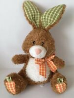 Mary Meyer Plush Bunny Rabbit Brown Stuffed Animal Calico Check Ears Soft Toy