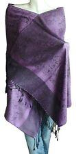 Soft New Pashmina Paisley Floral Silk Wool Scarf Wrap Shawl-Black/Purple.AZ