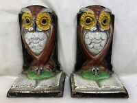 Antique Owl Bookends Pair Cast Iron Owl Bookends