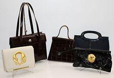 Lot of 5 Vintage Braccialini Crocodile Franko Fratelli Pink Moon Handbags RARE