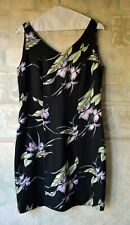 Tommy Bahama Sleeveless Dress, Silk, Black Floral Print, s.6, Fully lined