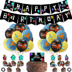 Among Us Game Party Supplies Banner Cake Toppers Balloons Decoration