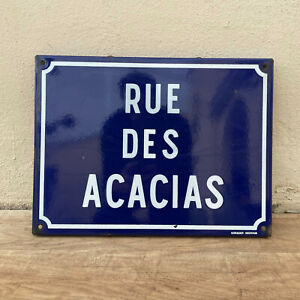 Old French Street Enameled Sign Plaque - vintage ACACIAS 14052115