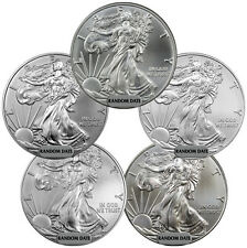 Lot of 5 - Random Year 1 oz. American Silver Eagle Coins SKU39414