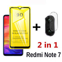For Xiaomi Redmi Note 7 Full 9D Cover Tempered Glass + Camera Lens Glass Film aa
