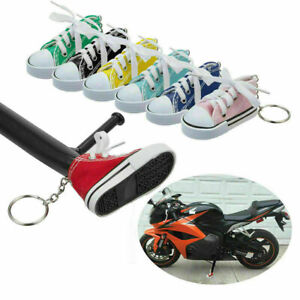Motorcycle Bike Side Stand Cute Protective Canvas Shoes Sneaker Tennis Keychain