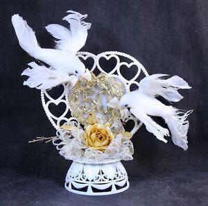 Vintage COAST 50th Anniversary Cake Topper Doves & Gold Trim